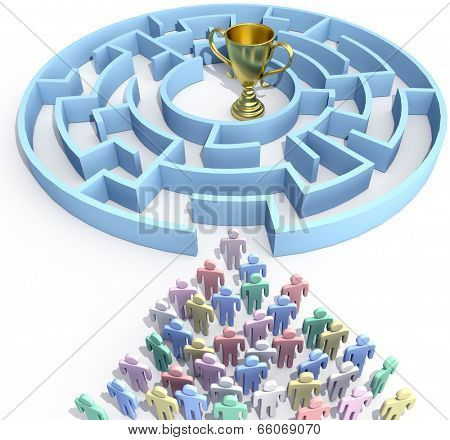 Leader and people start to search maze to find win success trophy solution