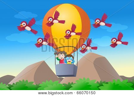 Kids Riding Hot Air Baloon