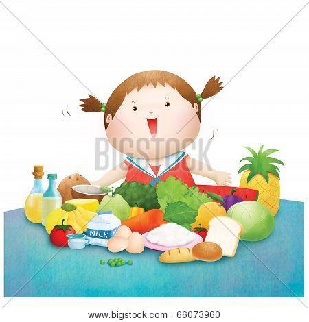 Little girl enjoy five food group