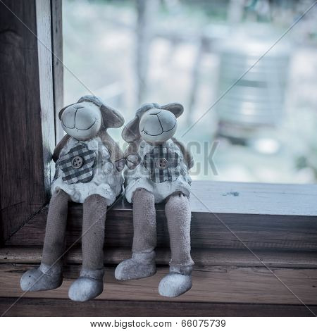 Couple Of Sheep Dolls Sitting On Window, Love Concept Process In Pastel.