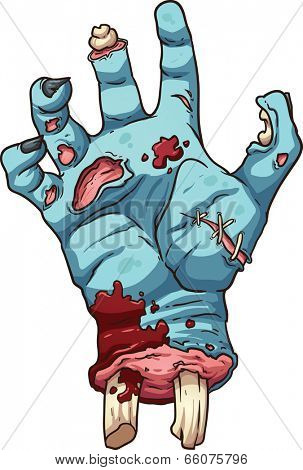 Zombie hand. Vector clip art illustration with simple gradients. All in a single layer.