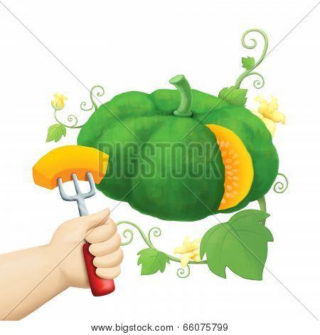 children's hand hold piece of pumpkin with fork illustration