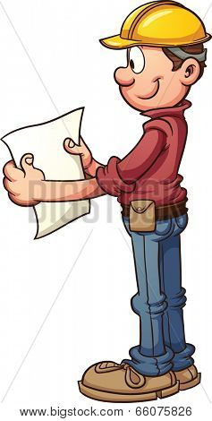 Construction worker looking at blueprints. Vector clip art illustration with simple gradients. All in a single layer.