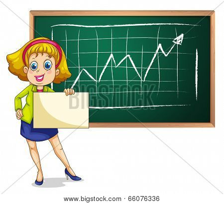 Illustration of a businesswoman standing in front of the blackboard with an empty signage on a white background
