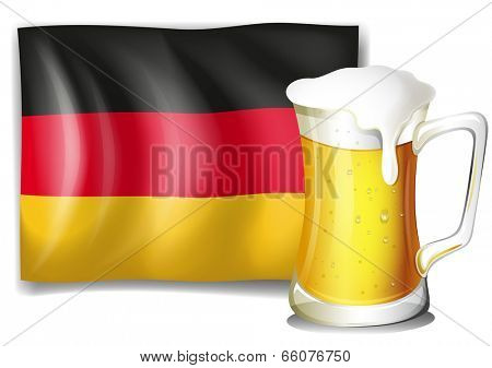 Illustration of a big mug with cold beer in front of the German flag on a white background