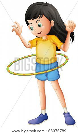Illustration of a young girl playing with a hulahoop on a white background