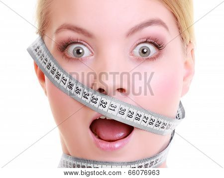 Obsessed Girl With Gray Measure Tapes Around Her Head