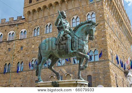Equestrian statue of Cosimo de 'Medici. Florence Italy