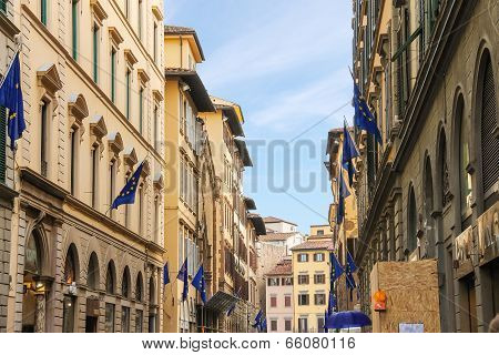 Houses On The Street Of The Ancient Italian City Florence.