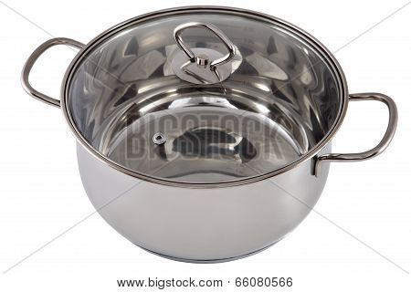 Casserole With Lid, Stainless Steel, Ovenproof Glass, Isolated On White