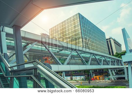 modern urban city architectural platform bridge