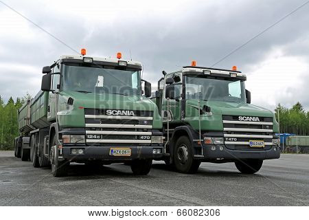 Two Scania 124G 470 Gravel Trucks With Conventional Cab