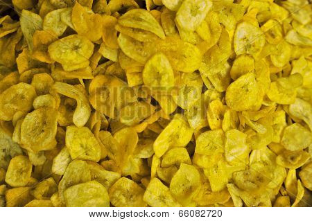 Fried Dry Sweet Banana Slice, Spicy Flavor, Background