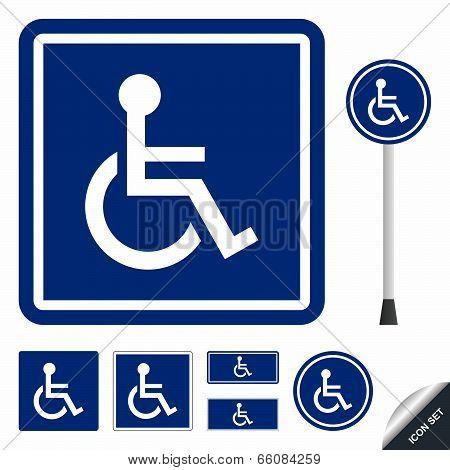 Handicap or wheelchair person icon set