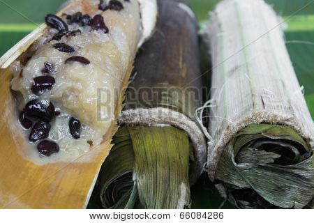 Glutinous rice roasted in bamboo joints,Thai dessert.