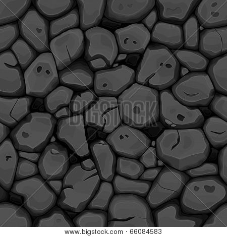 Black stone seamless background. Vector illustration