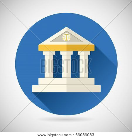 Law Court, Museum Bank House Symbol Justice, Finance, or History and Knowledge Icon on Stylish Backg