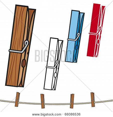 clothespin and rope