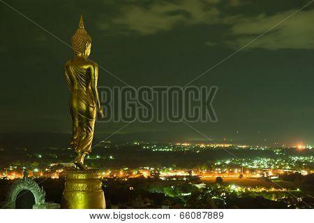 Buddha Standing On A Mountain Wat Phra That Khao Noi, Nan