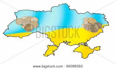 Coins On Ukrainian Map Concept