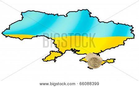 Coins On Ukrainian Map On Crimea Peninsula