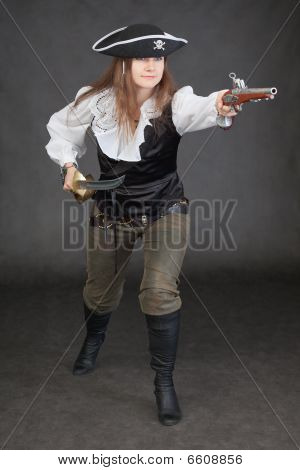 Woman In A Costume Of Sea Pirate Attack