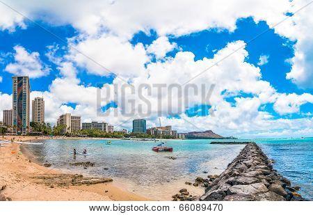 Waikiki shoreline with hotels and Diamond Head in Honolulu