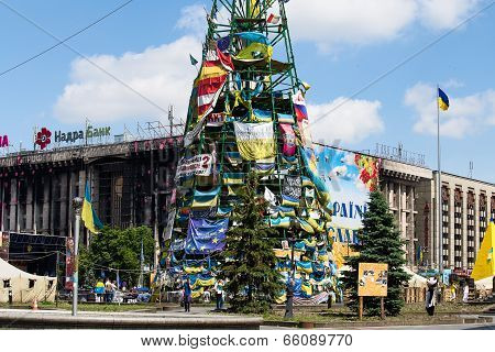 Independence Square In Kiev During A Demonstration Against The Dictatorship In Ukraine