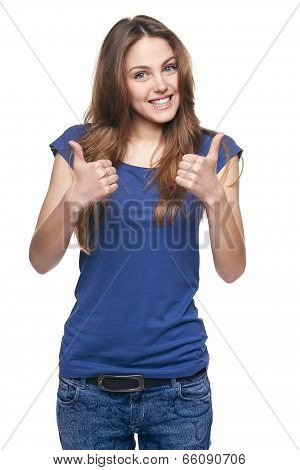 Smiling emotional girl pointing to the side
