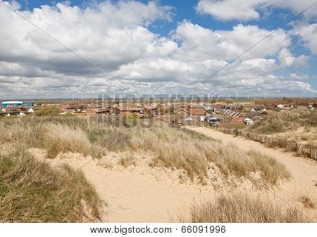 Camber Sands, Camber: Dunes And The Beach Near Rye In East Sussex, England. View Of Romney Marsh