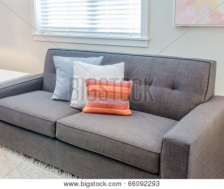 Interior design with sofa and colorful pillows