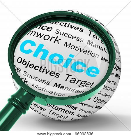 Choice Magnifier Definition Shows Confusion Or Dilemma