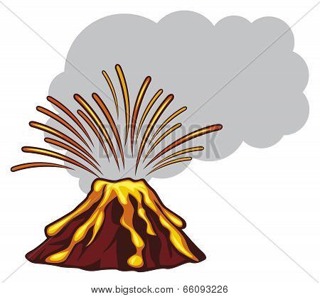 Volcano mountain top exploding