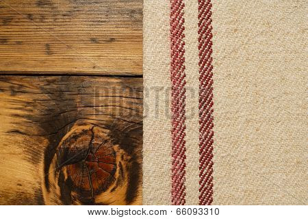 Burlap And Wood Background