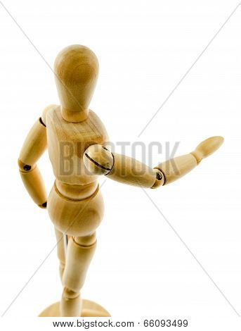 Wooden Figure   Isolated On White Background