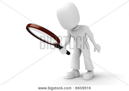 3d man holding a magnifie glass