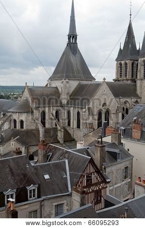 Roof of St-Nicolas Church in Blois . Loire Valley France
