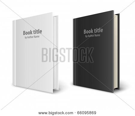 Books templates with white and black covers. Eps10 vector illustration isolated on white background