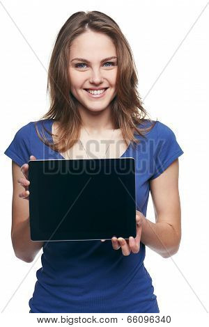 Woman showing tablet screen smiling