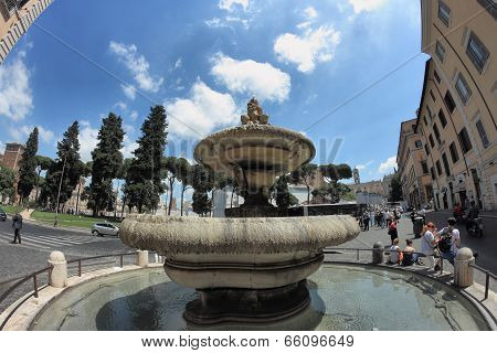 Ara Coeli Fountain In Rome, Italy