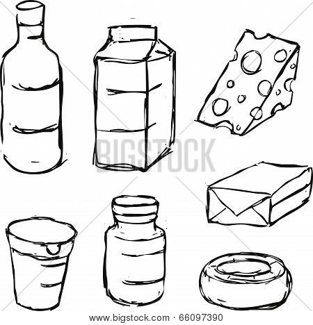 Dairy Product - Yogurt, Butter, Margarine, Milk, Cheese, - Black Outline Sketch