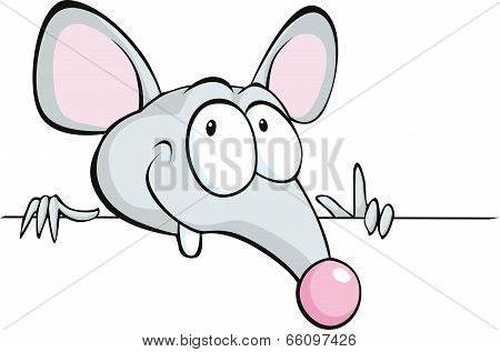 Mouse Peeking Out From Horizontal White Desk - Cartoon Illustration Isolated On White Background