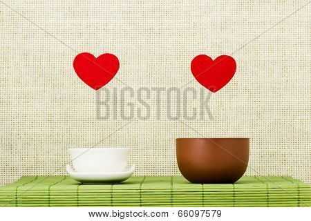 Two Hearts And Two Drinking Bowls