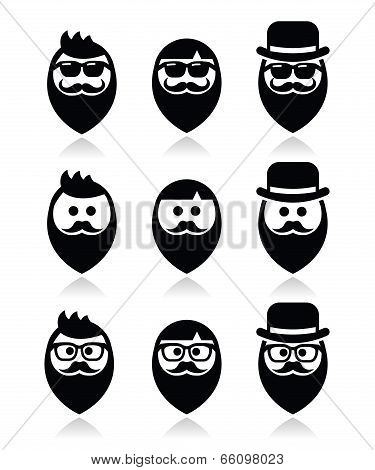 Man with beard with moustache or mustache, hipster icons set