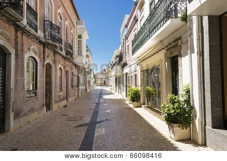The Street In Historic Center Of Faro Portugal.
