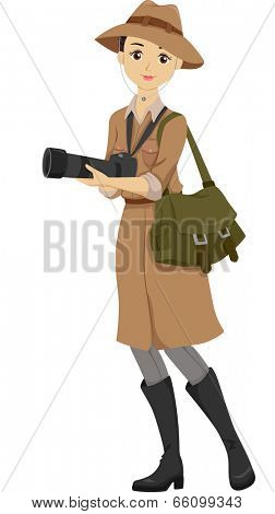 Illustration of a Teenage Girl Dressed in a Safari Outfit Holding a DSLR Camera