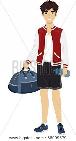 Illustration of a Male Teenager Wearing a Sporty Outfit and Carrying a Duffel Bag