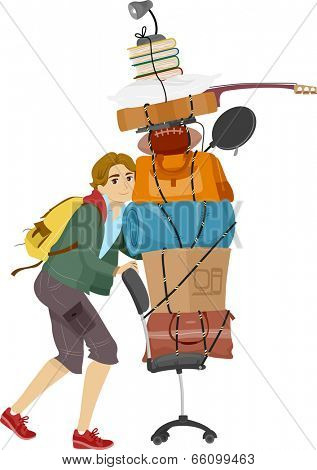 Illustration of a Male College Student Moving into the Dorms