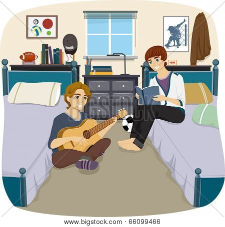 Illustration of a Pair of Male Roommates Passing the Time Together