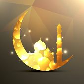 stock photo of namaz  - vector illustration of moon and mosque - JPG